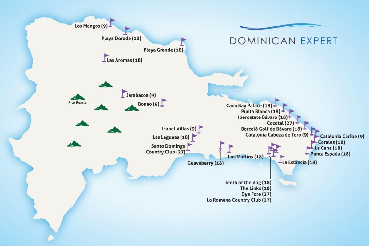 Mapa con todos los campos de golf en la República Dominicana