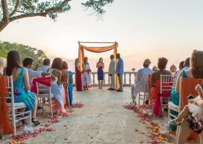 Beautiful, colorful wedding ceremony with amazing ocean view