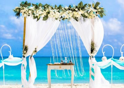 Beautiful white Sea Breezes gazebo at the beach