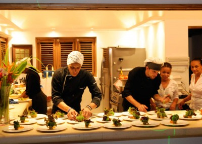 Our personal executive chefs during plating gourmet dishes.